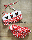Smocked A Lot girl Minnie Mouse bikini 2pc red polkadot swim suit beach bathing