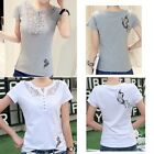 Women Lace T-shirt Blouse Butterfly Pattern Casual Shirt Lady Plus Size Tops