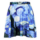 Women Skirt Van Gogh sky printed  S-4XL pleated mini skirt 1049 1pc