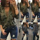 New Fashion Women Casual O-Neck Long Sleeve Camouflage Hollow Out Front EN24H02