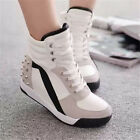 Women's Fashion Hidden Wedge Heel Sneakers Sports Athletic Shoes Black and White