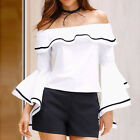 Womens Off Shoulder Blouse Flare Sleeve Tops Solid Blousa Ladies T Shirts Tops