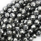 "Faceted Silver Hematite Round Beads 15.5"" Strand 2mm 3mm 4mm 6mm 8mm 10mm 12mm"