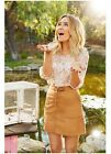 LC LAUREN CONRAD faux suede lace up skirt natural brown sizes 2 4 6 12 14 16 NEW