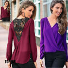 Long Sleeve Embroidery Hollow out V Neck Chiffon Casual Hot Blouse Party Shirt