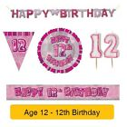 AGE 12 - Froh 12th Geburtstag ROSA GLANZ - Party Ballons, Banner & Dekorationen