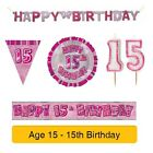 AGE 15 - Froh 15th Geburtstag ROSA GLANZ - Party Ballons, Banner & Dekorationen