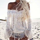 2017 Fashion Women Hollow Out Slash Neck Lace Floral Lady Tops t Shirt Blouse