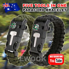 5in1 Survival Paracord Bracelet Flint Fire Starter Whistle Compass Gear Tool Kit