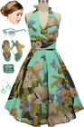 50s Style AQUA Marilyn HALTER PINUP Sun Dress with BIRDS & FLORAL Design