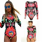 Women Long Sleeve Floral One Piece Bikini Monokini Swimsuit Swimwear Beachwear