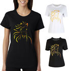 Basic Crew Neck T Shirt Horse Plain Top Stretch Layer Fitted Women Black&White