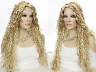 Glamorous Long Curly Wet Gel Wavy Look Wig Skin Top Center Part
