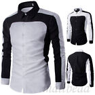 Stylish Mens White&black Long sleeve Casual Shirt T-shirts Slim Fit BussinesTops