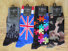 MENS K BELL SOCKS SOX Puzzle Camouflage Skyline British Size 10-13 YOU Choose