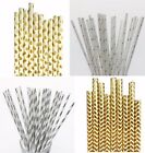 50 x Gold silver Foil Drinking Paper Straws Wedding Party Event 160412015