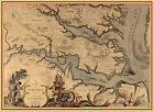 Early Pictorial Map Virginia showing Jamestown Williamsburg Yorktown Wall Poster