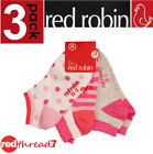 Red Robin Girls 3 Pack Kids Socks Cotton Ankle Trainer Pink Shoe Size 9-12 13-3