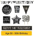 AGE 50 - 50th Birthday BLACK & SILVER GLITZ - Party Balloons,Banners&Decorations