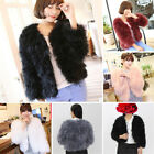 6 Colors Fashion Real Ostrich Feather Fur Coat Jacket long sleeve Winter Warm