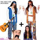 MENS ADULT HIPPIE 60's 70's RETRO VINTAGE FANCY DRESS COSTUME AND ACCESSORIES