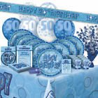 AGE 50 - Happy 50th Birthday BLUE GLITZ - Party Range, Banners & Decorations