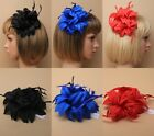 PACK OF 6 LAYERED FABRIC FLOWER FASCINATORS ON A CLIP & BROOCH PIN, WEDDING