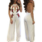 2017 Women Embroidered Rose Backless Hollow Front Jumpsuit Playsuit Romper Pants
