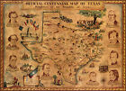 Vintage Pictorial Centennial Map of Texas Revolution Historic Wall Art Poster