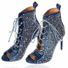 By Alina Jeans Sandaletten Peep Toes High Heels Pumps Stiefel Strass Blau 36-39