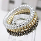Trendy Women Gold/Silver Rubber Hair Bands Ponytail Holders Spiral Plastic Clear