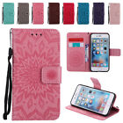 Leather Sun Embossing Flip Wallet Case Stand Cover for iPhone 5 S SE 6 6S 7 Plus