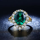 Luxury Fashion Size 6,7,8 Green Emerald 18K Gold Filled Women's Engagement Ring