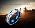 LOVE ONLY YOU Carving Men/Women's Band Rings Couple Promise Wedding Gift Blue