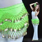 Rows Coins Chiffon Silver Fashion 3 Coin Dancing Hip Scarf Belly Belt Dance