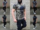 Fashion ROCKER  BIKER REBELL CAMOUFLAGE WILD REBELL SKULL PARTY CLUBWEAR T-Shirt
