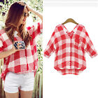 Red And White V-Neck Women Casual Long Blouse New Loose Plaid Increase Size