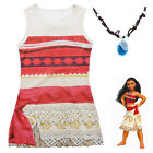 Kids Moana Dress Cosplay Moana Necklace Chain Girl Shirt Dress Sleeveless 3-9Y F