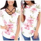 WOMENS LADIES REVERSABLE CROSS STRAP ROUND NECK FLORAL FLOWER T-SHIRT TOP SHIRTS