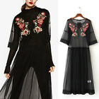 New Women Casual Loose Embroidered Cocktail Evening Beach Long Summer Dress S~L