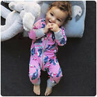 Infant Kids Baby Girsl Print Cotton Romper Zipper Long Sleeves Jumpsuit Outfits