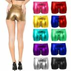 New Womens Ladies PVC Metalic Disco Wet Look Shorts Dance Party Shiny Plus Size