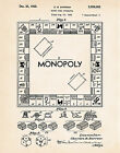 1935 Monopoly Art Patent Poster Print Board Game Drawing Kids Room Wall Decor