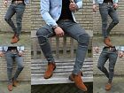Young Fashion Destroyed Zipper Men's UK Style Skinny Fit Men Tube Jeans Trousers