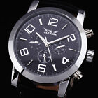 Sports Silver Case Day Date Leather Strap Mens Automatic Mechanical Wrist Watch