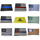 Hot Football USA America Police Support Flag Memorial Law Grommets Banner 3x5ft