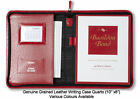 """GENUINE QUALITY GRAINED LEATHER QUARTO WRITING CASE 10"""" x 8"""" MOIRE SILK LINED"""