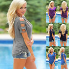 NEW Women Short Sleeve Shoulder Hollow Out T-shirt Casual V Neck Summer Tops Tee