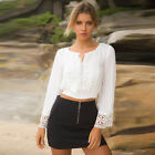 Long Sleeve Lace V-neck Sexy T-shirts Women Crop Top Casual Hollow out Blouse