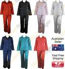 Womens Satin Pyjamas Silk Winter PJs Ladies Full Length Pajamas Plus Size 4 - 26